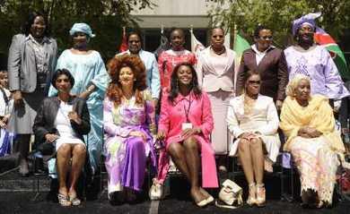Ida Odinga of Kenya (rear L-R), Hadjia Laraba Tandja of Niger, Penehupifo Pohamba of Namibia, Thandiwe Banda of Zambia, Maria da Luz Dai Guebuza of Mozambique, Mathato Sarah Mosisili of Lesotho, Sia Nyama Koroma of Sierra Leone, and (front L-R) Adelcia Barreto Pires of Cape Verde, Chantal Biya of Cameroon, Ana Paula Dos Santos of Angola, Queen Inkhosikati LaMbikiza of Swaziland, and HajiyaTurai Umaru Yar'Adua of Nigeria